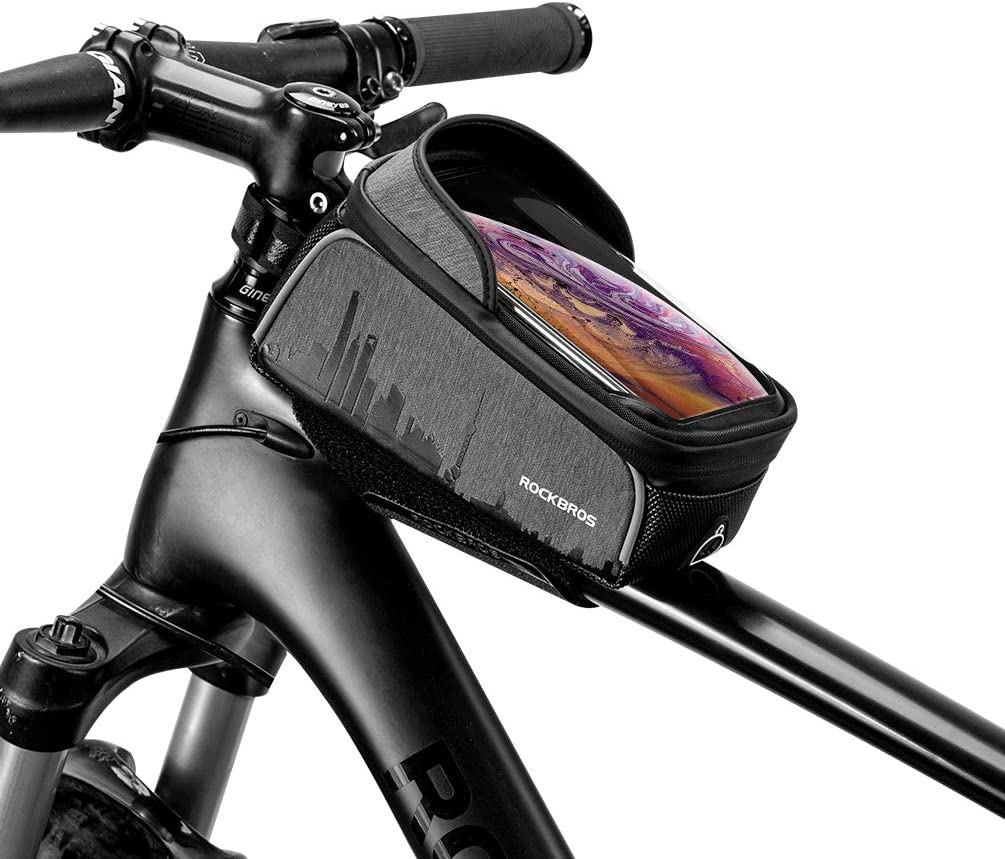 HUAWEI P30 Phone Case below 6.0/'/' ROCK BROS Bike Bag Top Tube Bicycle Bag Waterproof Phone Holder for Bicycle Bike Frame Bike with Touch Screen Bike Accessories Compatible with iPhone 11 Pro Max//XR//XS Max 7//8 Plus