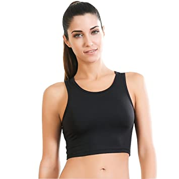 59eeb094e Move With You Womens Crop Tank Tops Workout Running High Neck Sports Bra  with Built-in Bra Racerback