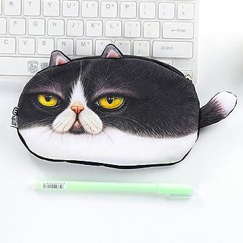 Estuche para lápices, diseño de gato, franela, material escolar, BTS, ideal