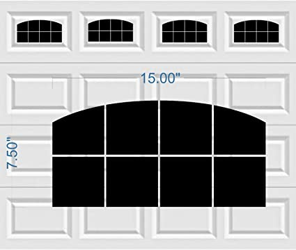 Arched Style Vinyl Garage Door Decal Kit   Faux Windows (Gloss Black)