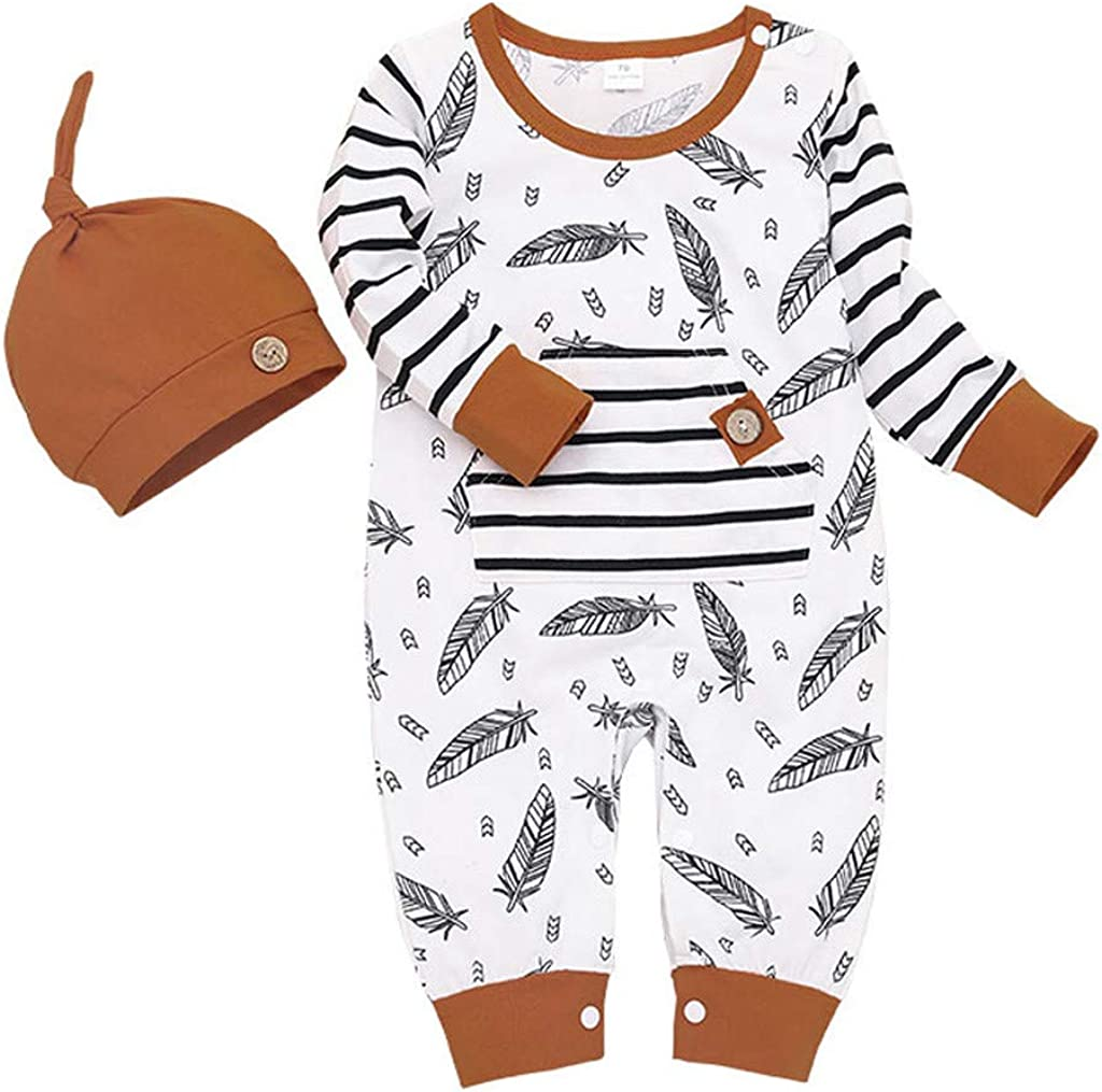 Julhold Infant Baby Girl Boy Cute Fashion Feather Striped Casual Romper Jumpsuit with Pocket Clothes Hat Set 0-24 Months