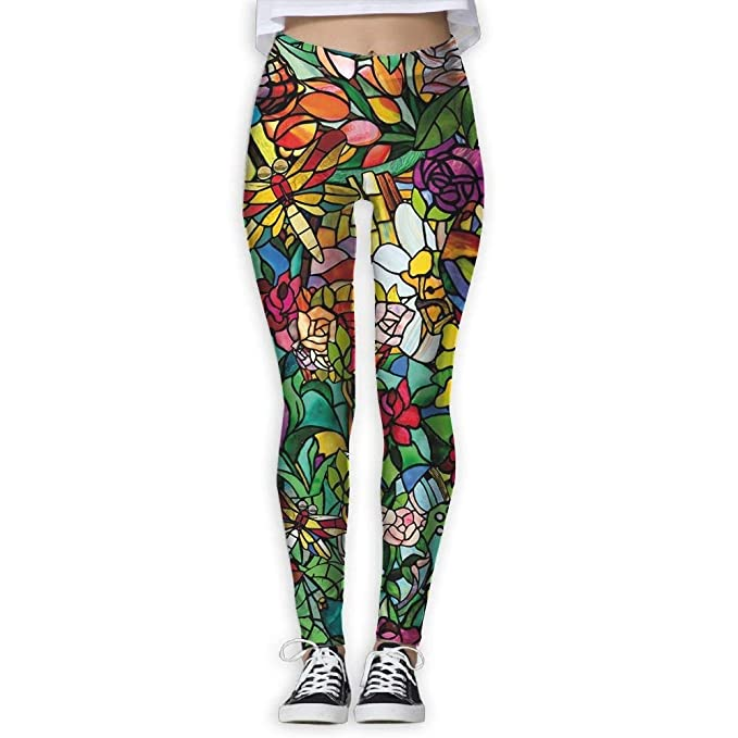 Amazon.com: KIOJIANM Art Stained Glass Yoga Pants for Women ...
