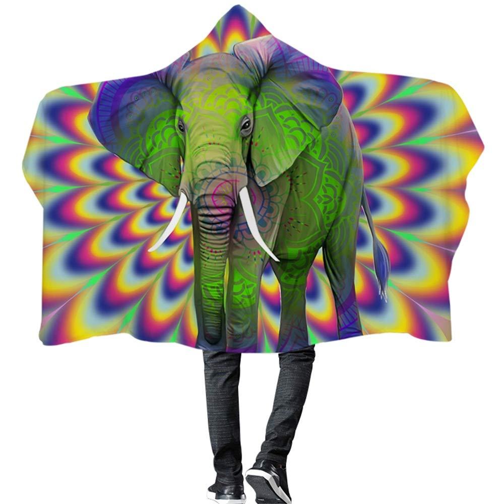 Wearable Hooded Blanket Vivid Elephant Animal Indian Elephant Mandala Teal Green Purple Super Soft Digital Print Hooded Throw Wrap Premium Fleece Warm Hooded Cloak for Adults and Children by Frank Home