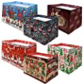 """12 Jumbo Christmas Tote Bags with Handles 15"""" Wide X 11"""" High X 11"""" Deep Extra Wide Large Giant Reusable Holiday Grocery Shopping Paper Gift Bags Big Gusset for Food Cookie Container and Foil Tin Pan"""