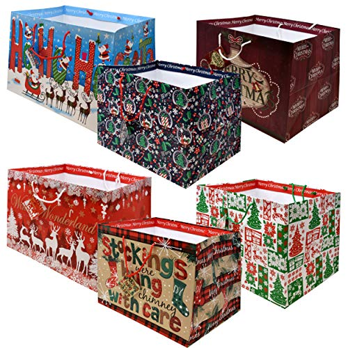 12 Jumbo Christmas Tote Bags with Handles 15 Wide X 11 High X 11 Deep Extra Wide Large Giant Reusable Holiday Grocery Shopping Paper Gift Bags Big Gusset for Food Cookie Container and Foil Tin Pan