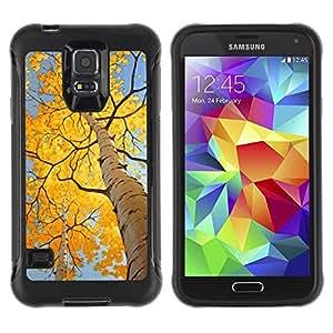 "Pulsar iFace Series Tpu silicona Carcasa Funda Case para Samsung Galaxy S5 V , Hojas de otoño de abedul amarillo Sun"""