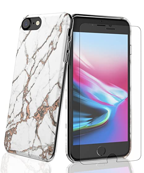 cheap for discount b49ad a7076 SaiTong iPhone 6 Case,iPhone 6S Case,iPhone 7 Case,iPhone 8 Case Shockproof  Slim Fit Plastic and TPU Protective Hard Shell with Tempered Glass Screen  ...