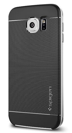 spigen Funda Galaxy S6, Carcasa [Neo Hybrid] Protección Interna Flexible y Marco de Parachoques Duro Reforzado para Samsung Galaxy S6, Plata