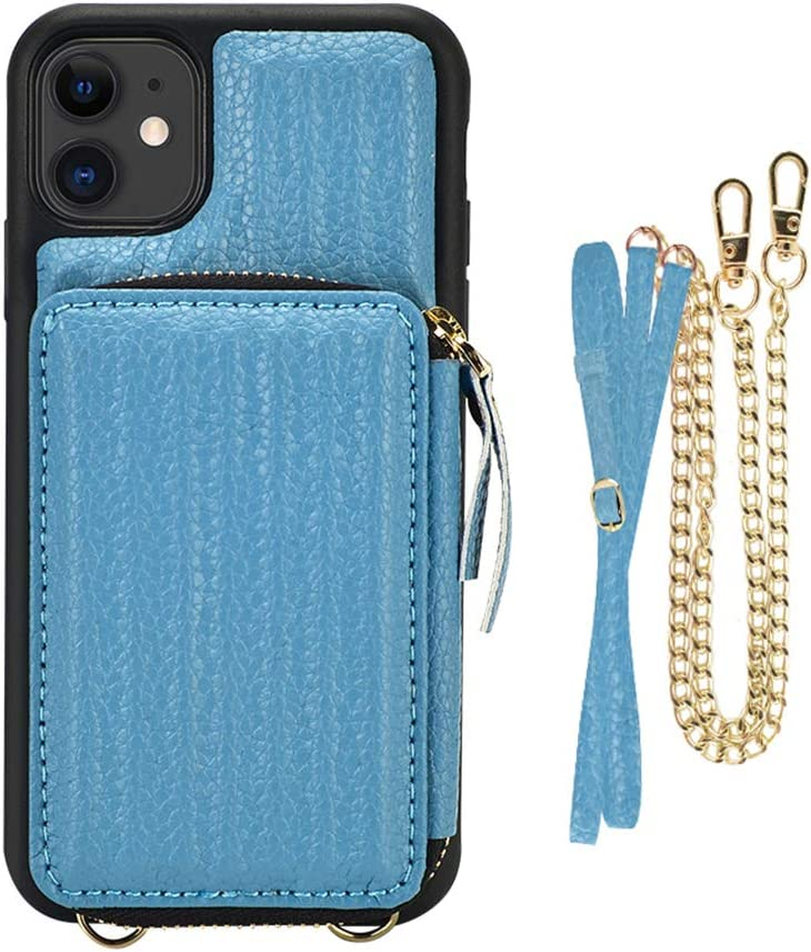 iPhone 11 Crossbody Case, iPhone 11 Wallet Case, ZVEdeng iPhone 11 Zipper Case with Card Holder, Leather Phone Case Trunk Box Shaped for iPhone 11 6.1inch-Haze Blue
