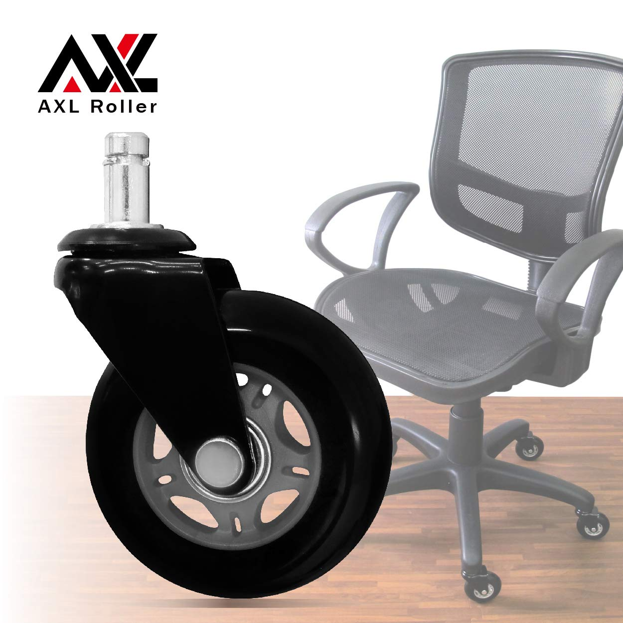 AXL 3 inch Office Chair Caster Wheels Replacement PU Style Caster, Desk Chair Floor Protector, No Noise, Safe for All Hardwood Floors (Grey/Black)