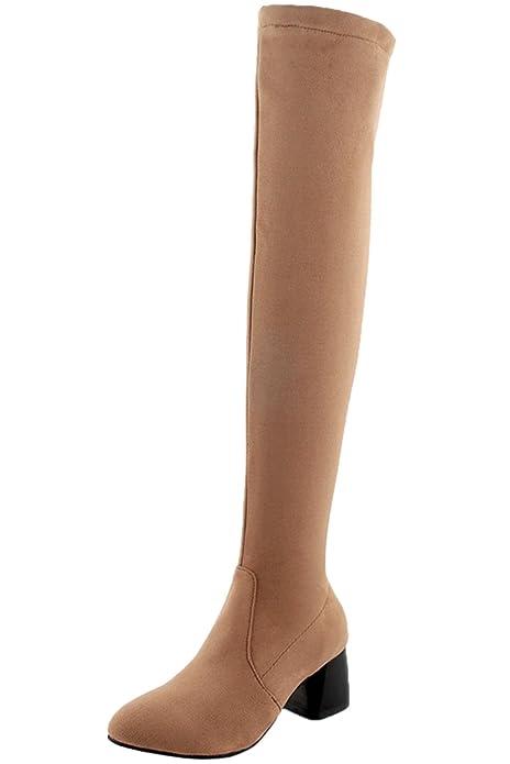 ec1d76cdad750 Botas Altas del Muslo Mujer Otoño Invierno Bloque Casual Sintética Ante  Cremallera Cómodo Botas sobre la Rodilla De BIGTREE  Amazon.es  Zapatos y  ...