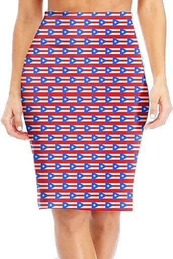 Tailing Women's Pencil Skirt Puerto Rico Flag Long Silm