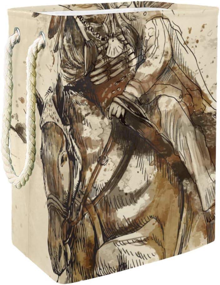 NOBRAND Cesto para la colada con asas para cestas de almacenamiento para la colada, forro integrado con soportes desmontables, cesta plegable para la colada, ideal para el jefe indio montar a caballo