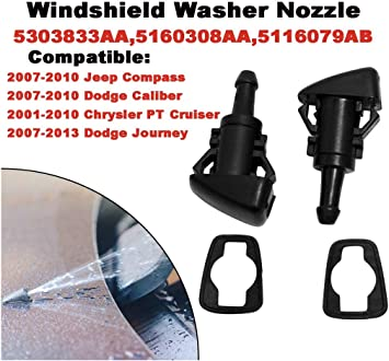 5116079AA Windshield Wiper Washer Nozzle Kit Compatible with Dodge Caliber, Ram 1500 2500 350 Jeep Grand Cherokee Chrysler Town 5160308AA(Pack of 2