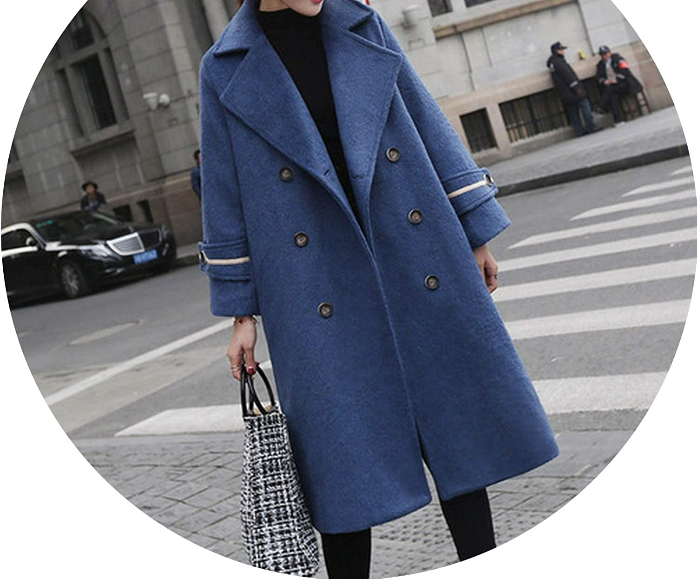 bluee Souieyshop Winter Wool bluee Coat Women Woolen Thick Jacket Female Autumn Korean Loose Coats Warm Jackets