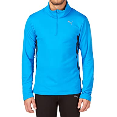 0f432ae4ac84 Puma Brushed Half-Zip Mens Running Top - Blue  Amazon.co.uk  Clothing
