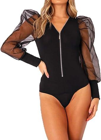 Womens Basic 3D Digital Printing Stretchy Bodysuit Leotard Tops