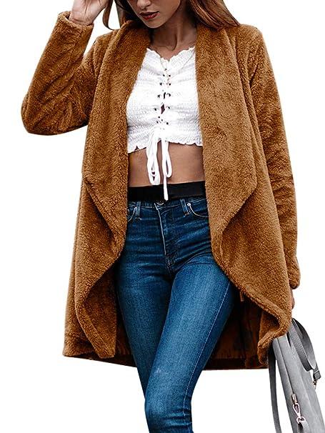 ORANDESIGNE Abrigo para Mujer Invierno Solapa Abrigo de Piel Sintética Suelta Cárdigan de Manga Larga Color Sólido Chaquetas Marrón ES 44: Amazon.es: Ropa y ...