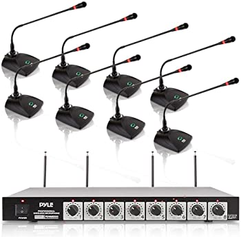 8 channel wireless microphone system portable vhf cordless audio mic set with 1 4. Black Bedroom Furniture Sets. Home Design Ideas