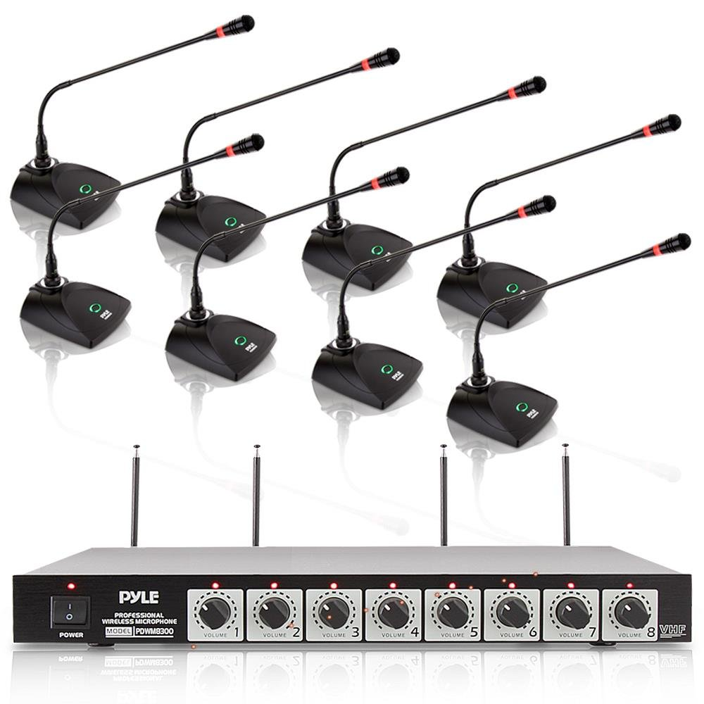 Portable VHF Cordless Audio Mic Set with 1//4 and XLR Output Dual Antenna Rack Mountable Receiver Base Pyle Pro PDWM8300 Includes 8 Table Top Mics 8 Channel Wireless Microphone System