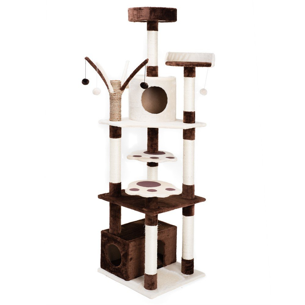 Xstiger 72'' Modern Cat tree Furniture Tower Climbing Tree with 2 Condos and Toys (Brown/Beige)