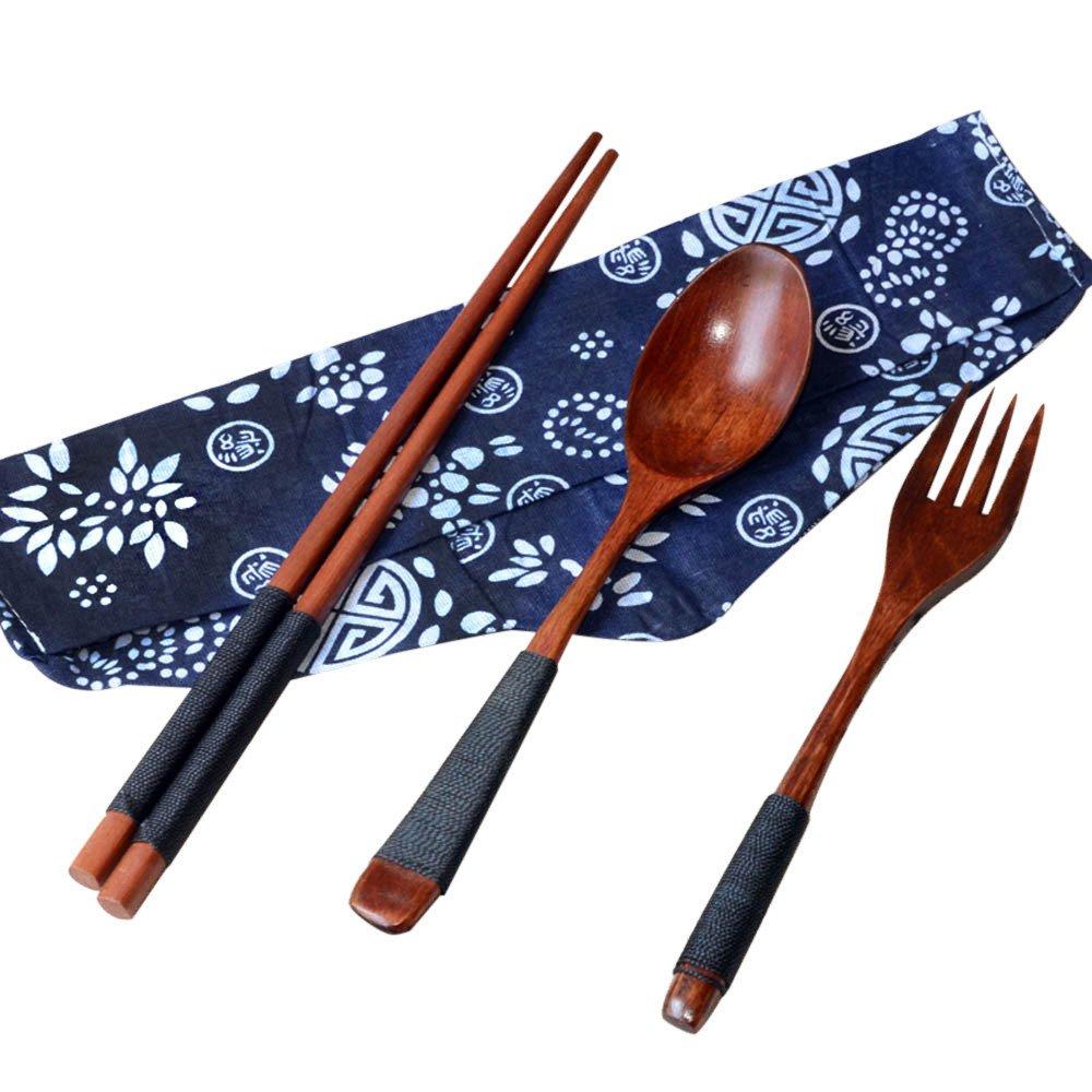 Japanese Tableware,Lovewe Japanese Vintage Wooden Chopsticks Spoon Fork Tableware 3pcs Set New Gift