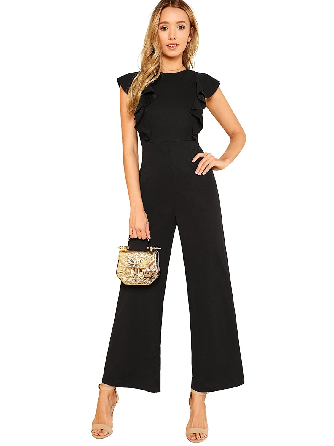 d50b964235d Amazon.com  Romwe Women s Sexy Casual Sleeveless Ruffle Trim Wide Leg High  Waist Long Jumpsuit  Clothing
