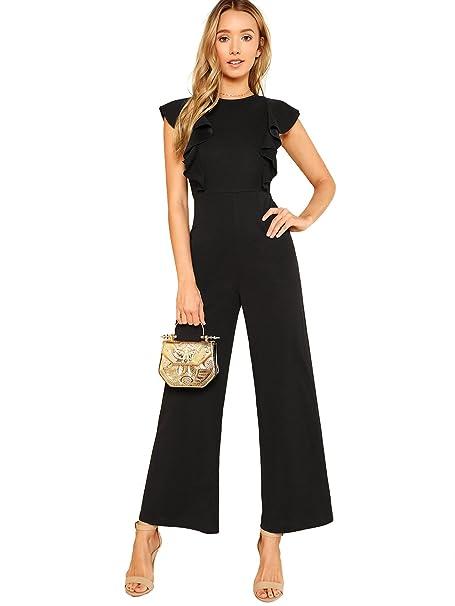 e3c6c0e64b4c Amazon.com  Romwe Women s Sexy Casual Sleeveless Ruffle Trim Wide Leg High  Waist Long Jumpsuit  Clothing