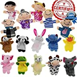 Toys : Finger Puppet Set - [The Original by Yabber 16 Pack Full Set] 10 Animals + 6 People Family Members [An American Company]