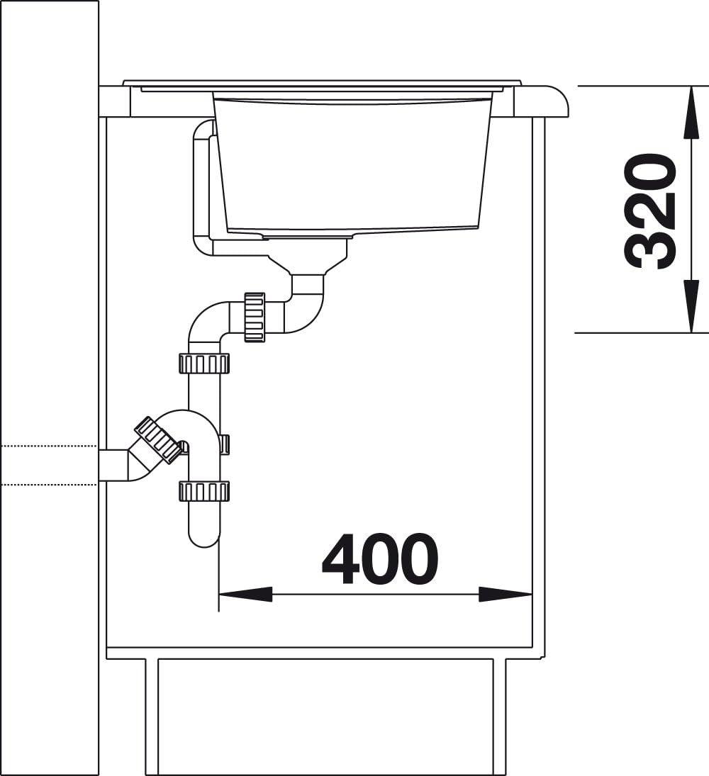 Anthrazit-schwarz // mit InFino-Ablaufsystem Glas-Schneidbrett und Ablauffernbedienung;; 523709 inkl Blanco Zenar 45 S K/üchensp/üle aus Silgranit PuraDur; Becken rechts