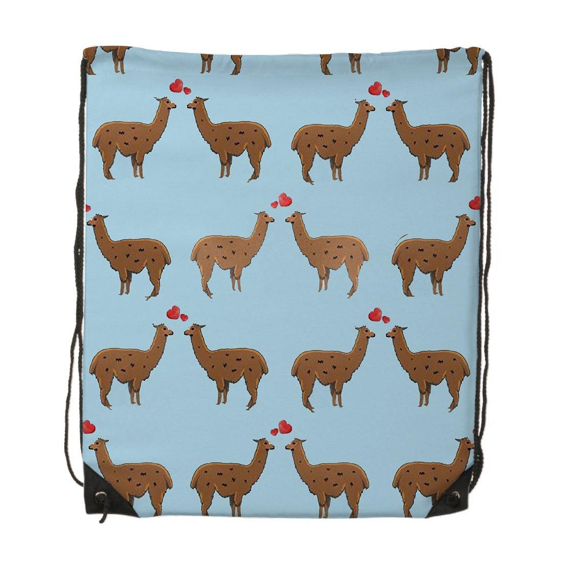 I Heart Love Llama Unisex Gym Drawstring Shoulder Bag Backpack Travel Bag Bags Backpack String Bags School Rucksack Gym Handbag