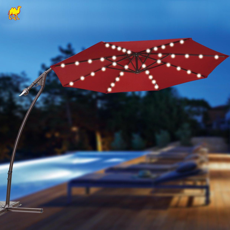9' CANTILEVER SOLAR POWERED 40 LED LIGHT PATIO UMBRELLA OUTDOOR GARDEN SUNSHADE-BURGUNDY by BenefitUSA