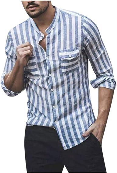 Otoño Verano Moda Estampado De Rayas Ocio Suelto Hombre El Botón Manga Larga Camisa Bolsillo Transpirable Cómodo Hombre Tops Camisetas Hombre T-Shirt Cárdigans Pullover Jerséis Outwear MEIbax: Amazon.es: Ropa y accesorios
