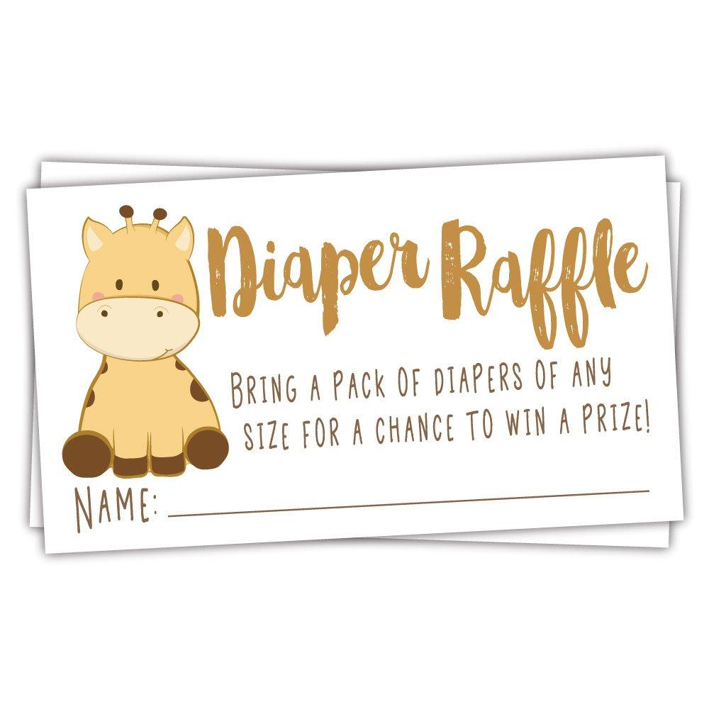 50 Giraffe Diaper Raffle Tickets | Gender Neutral Baby Shower Game