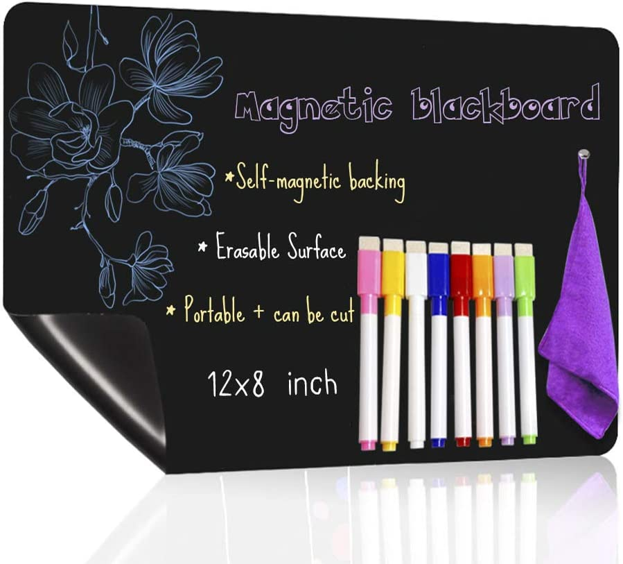 UCMD Magnetic Chalkboard for Fridge with 8 Color Chalk Markers, Dry Erase Blackboard Calendar,Menu Planner Board (12X8 inches)