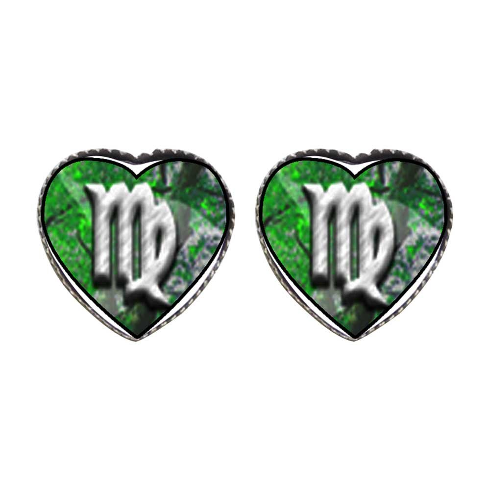 GiftJewelryShop Bronze Retro Style The Virgo zodiac sign Photo Stud Heart Earrings #12