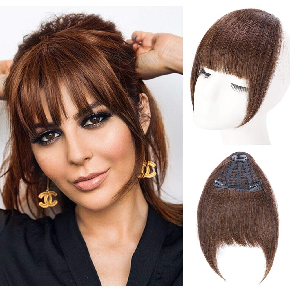 AISI QUEENS Clip in Bangs 100% Remy Human Hair Extension One Piece in Fringe Straight Flat Bangs with Temple for Women(Color:Medium Brown)