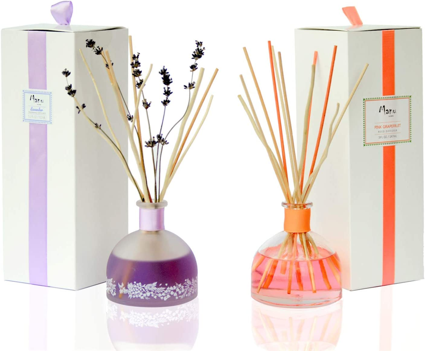 Manu Home Pink Grapefruit and Calm Lavender Reed Diffuser Sets | Best Value - 2 Pack Set | Luxurious Aromatherapy Bedroom and Kitchen Diffuser Sets | Made in USA~