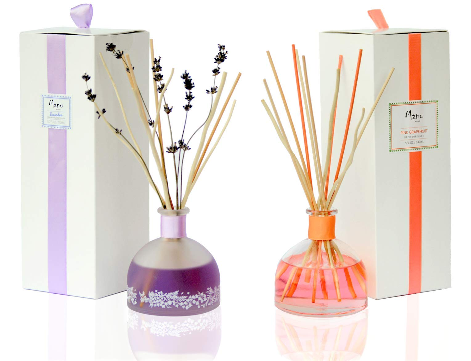 Manu Home Pink Grapefruit and Calm Lavender Reed Diffuser Sets | Best Value - 2 Pack Set | Luxurious Aromatherapy Bedroom and Kitchen Diffuser Sets | Made in USA~ by Manu Home