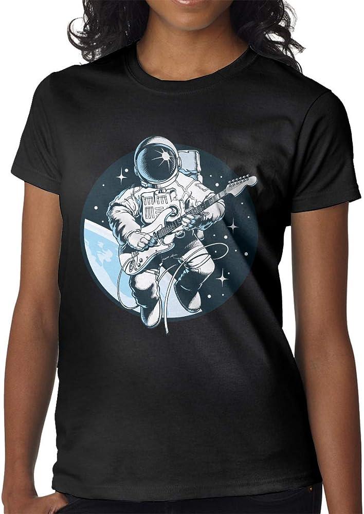 Mujeres Imprimir Camisetas Superiores Astronauta Tocando Guitarra ...