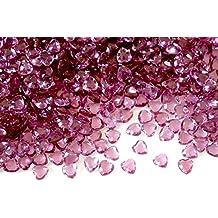2000 pcs 6mm Acrylic Crystal Red Hearts Shape Tip Back Confetti Wedding Valentines Table Diamond Confetti Party Decoration (Burgundy)