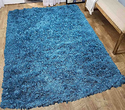 Glitter Shag Shaggy Furry Fluffy Fuzzy Sparkle Soft Modern Contemporary Thick Plush Soft Pile Turquoise Blue Two Tone Area Rug Carpet Bedroom Living Room 5×7 Sale Discount ( Treasure Turquoise ) For Sale