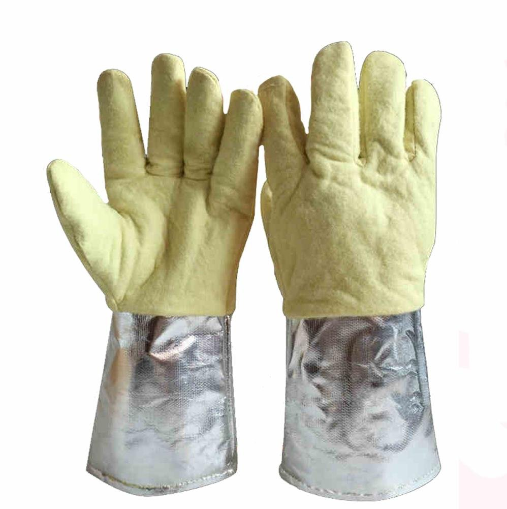 High temperature 500 degrees gloves aluminum foil thermal insulation steel plant casting work labor insurance products baking oven anti-hot safety tools