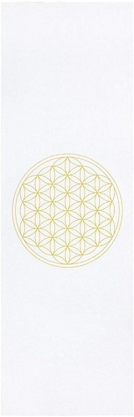 Tapete de yoga pvc ecológico branco estampa Flor da Vida, para iniciantes, yoga mat fitness e pilates 4.5mm 183cm x 60cm Bodhi