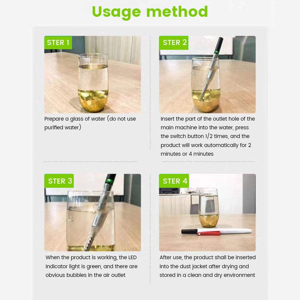 LIHUACHEN Ozone Water Generator Sterilization Stick Active Oxygen Water Ozone Water Purifier Negative ion Generator Sterilized pet Pollen Can be Used to Disinfect Oral Cavity Remove Bad Breath