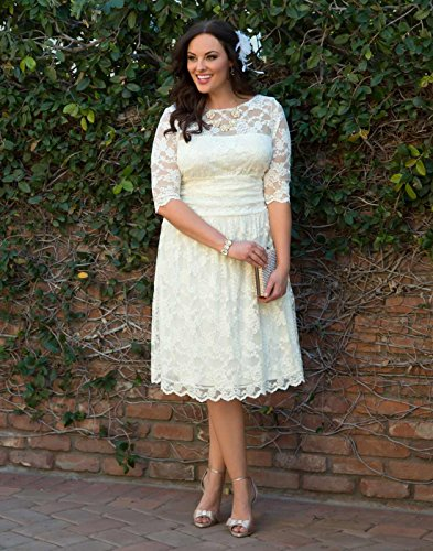 Kiyonna Women's Plus Size Aurora Lace Wedding Dress 2X Ivory