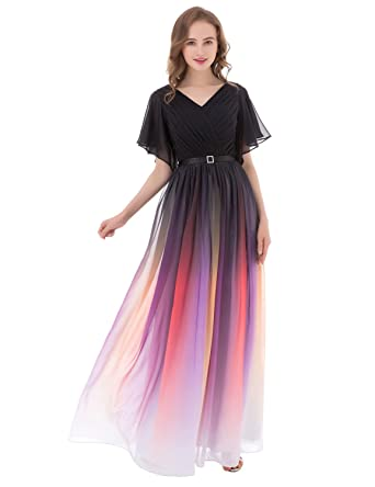 Belle House Womens Long Prom Dresses Ombre 2017 Capped Sleeves A Line Formal Evening Ball Gown