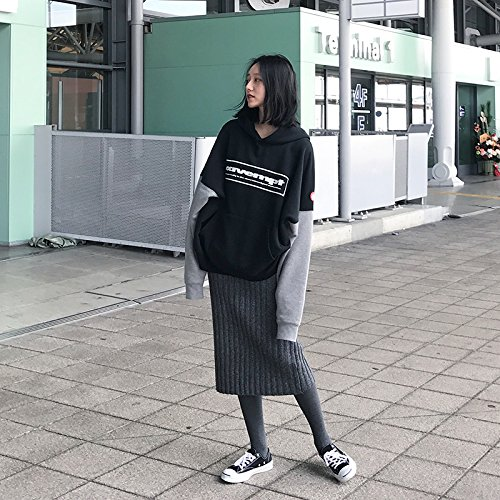 Xuanku Women In The Long Section Of Loose Sweater Harajuku Hooded Jumper Stitching Students During The Spring And Autumn Black