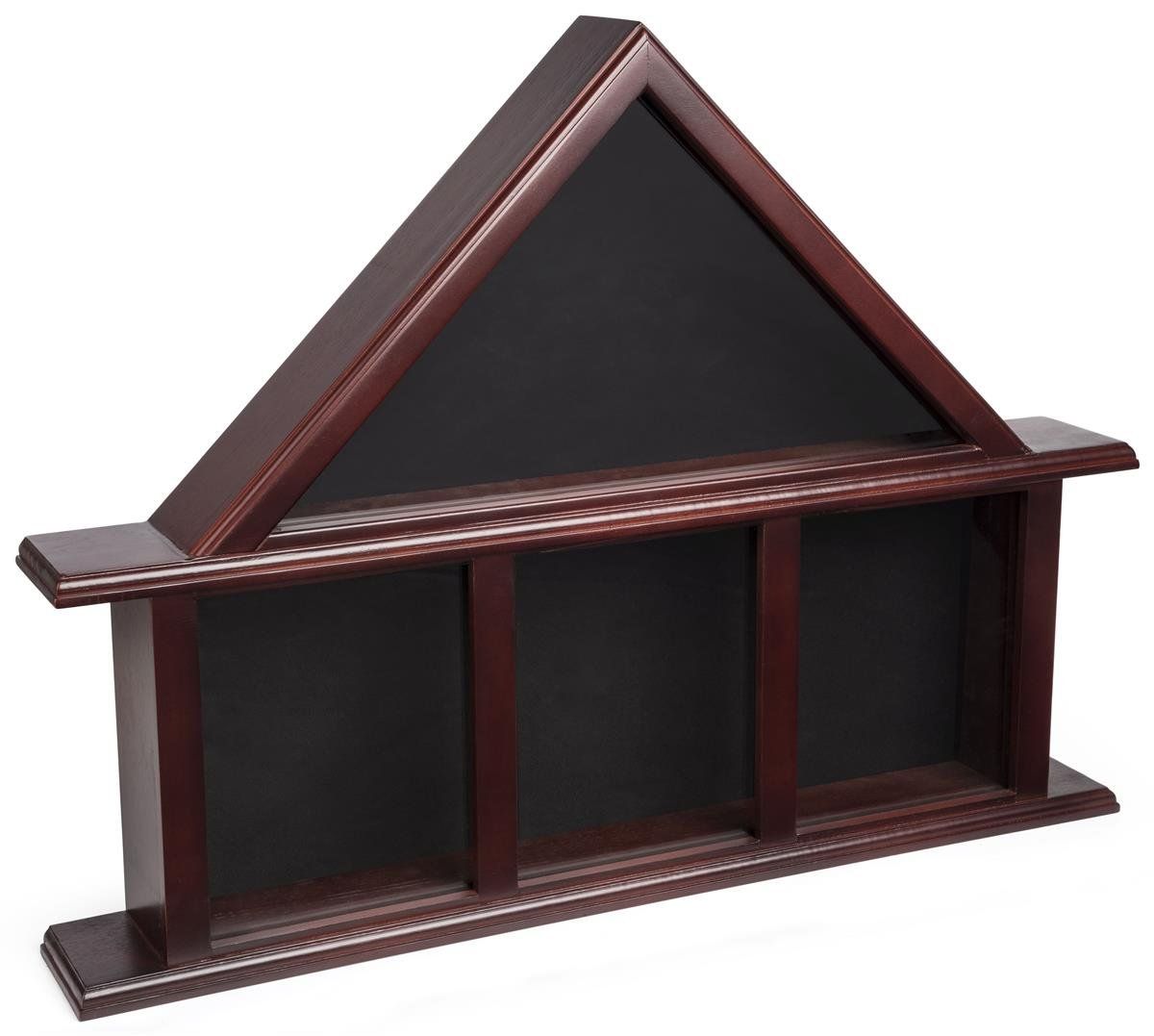 Displays2go, Glass Flag Military Medals Case, Tempered Glass, Pine Wood Construction, and Felt Backer - Mahogany, Black Finish (FC59M3MH)