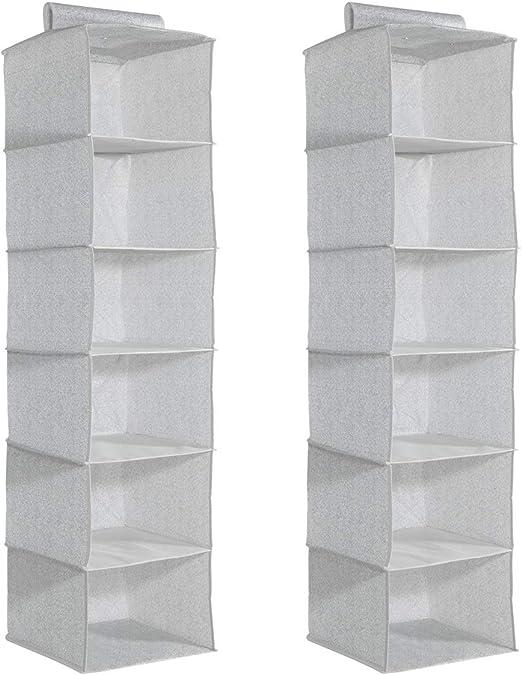Amazon Com Navaris 6 Shelf Hanging Closet Organizer Set Of 2